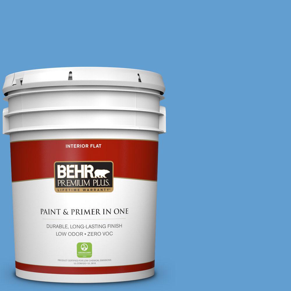 BEHR Premium Plus 5-gal. #570B-5 Gulf Stream Zero VOC Flat Interior Paint