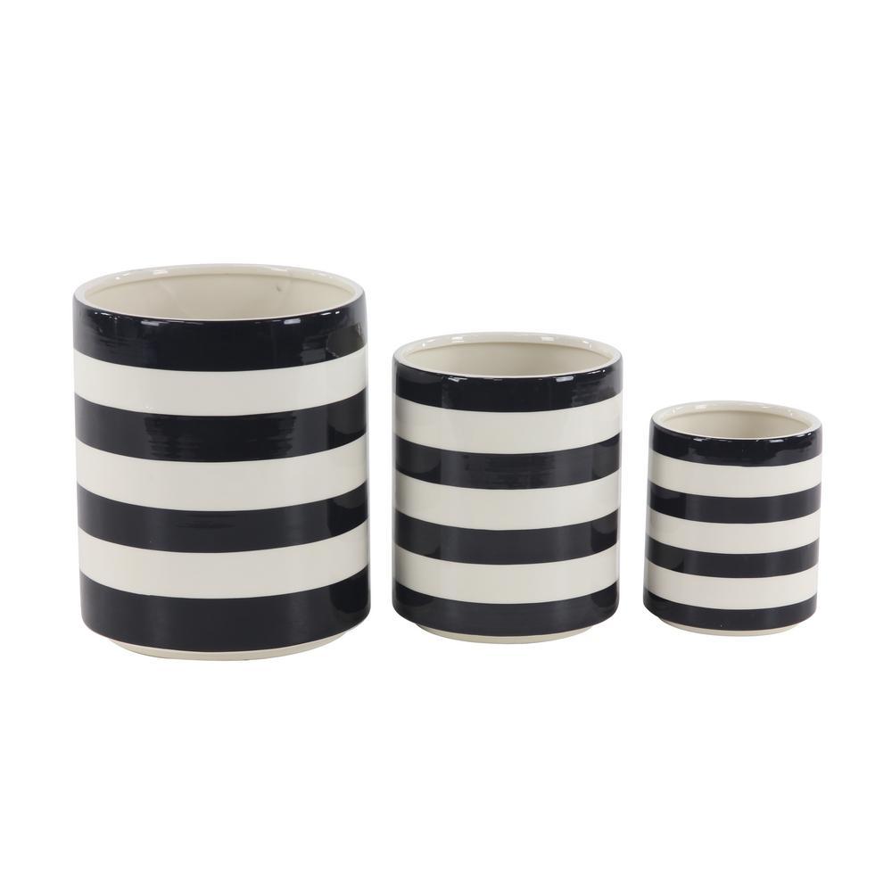 10 in. L x 12 in. H, 9 in. L x 9 in. H, 7 in. L x 7 in. H Cylindrical Black and White Striped Ceramic Planter (Set of 3)