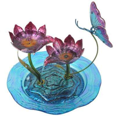 Home Decor Butterfly Fusion Glass Tabletop Water Fountain