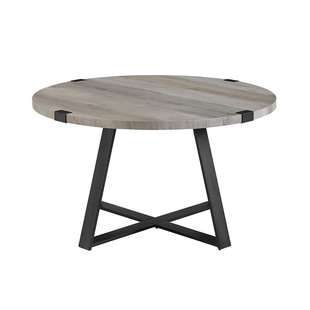 Beau Grey Wash/Black Rustic Urban Industrial Wood And Metal Wrap