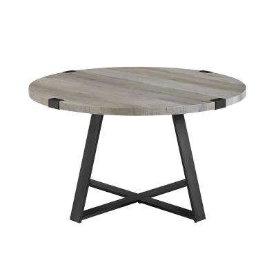 30 in. Grey Wash/Black Rustic Urban Industrial Wood and Metal Wrap Round Coffee Table