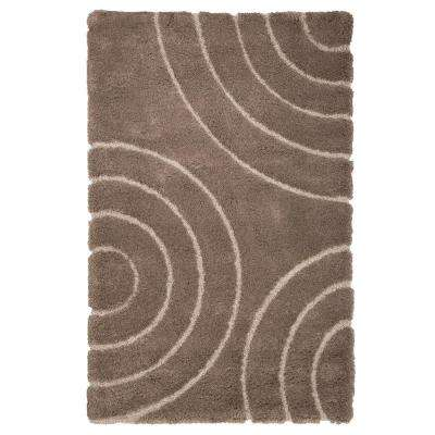 Everest Shag Circles Brown 5 ft. x 7 ft. 7 in. Area Rug