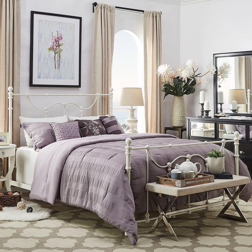 HomeSullivan Dorado Antique White Queen Bed Frame 40E637BQ 1WBED