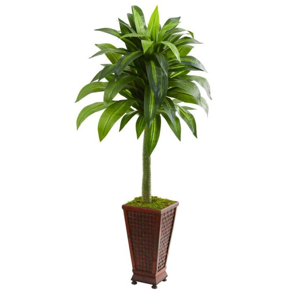 Nearly Natural Indoor 4.5-Ft. Dracaena Artificial Plant in Decorative Planter