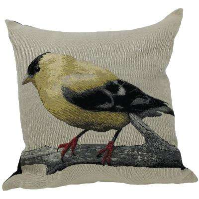 18 in. x 18 in. Gold Finch Bird Embroidery with Feather Filled Pillow