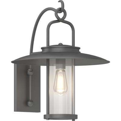 Large 1-Light Black Indoor/Outdoor Hanging Lamp/Lantern Wall Mount/Wall Sconce with Clear Glass Cylinder