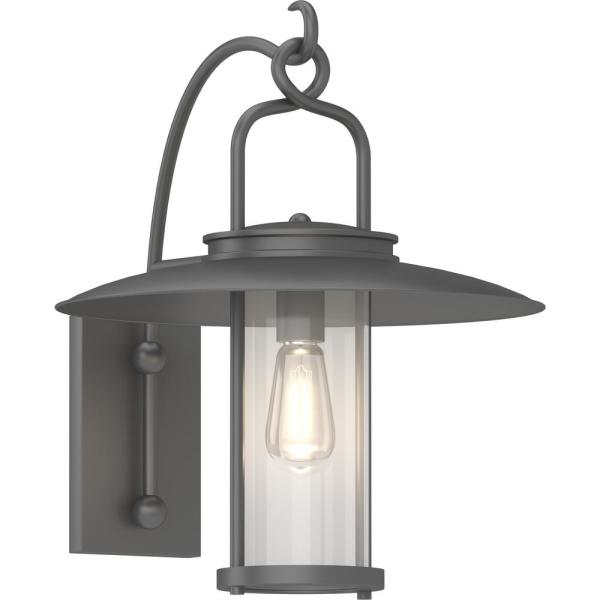 Volume Lighting Large 1 Light Black Indoor Outdoor Hanging Lamp Lantern Wall Mount Wall Sconce With Clear Glass Cylinder V9441 5 The Home Depot