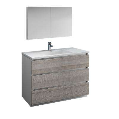 Lazzaro 48 in. Modern Bathroom Vanity in Glossy Ash Gray with Vanity Top in White with White Basin and Medicine Cabinet