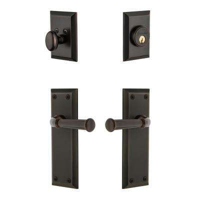 Fifth Avenue Plate 2-3/8 in. Backset Timeless Bronze Georgetown Door Lever with Single Cylinder Deadbolt