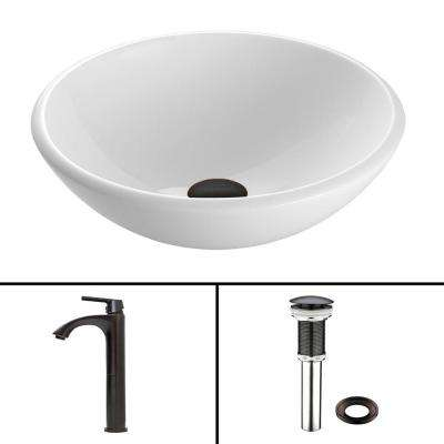 Glass Vessel Sink in White Phoenix Stone and Linus Faucet Set in Antique Rubbed Bronze