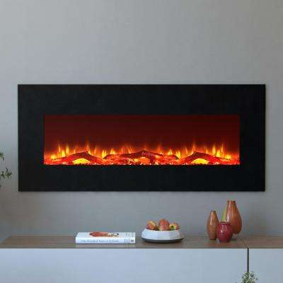 Houston 50 in. Electric Wall Mounted Fireplace in Black