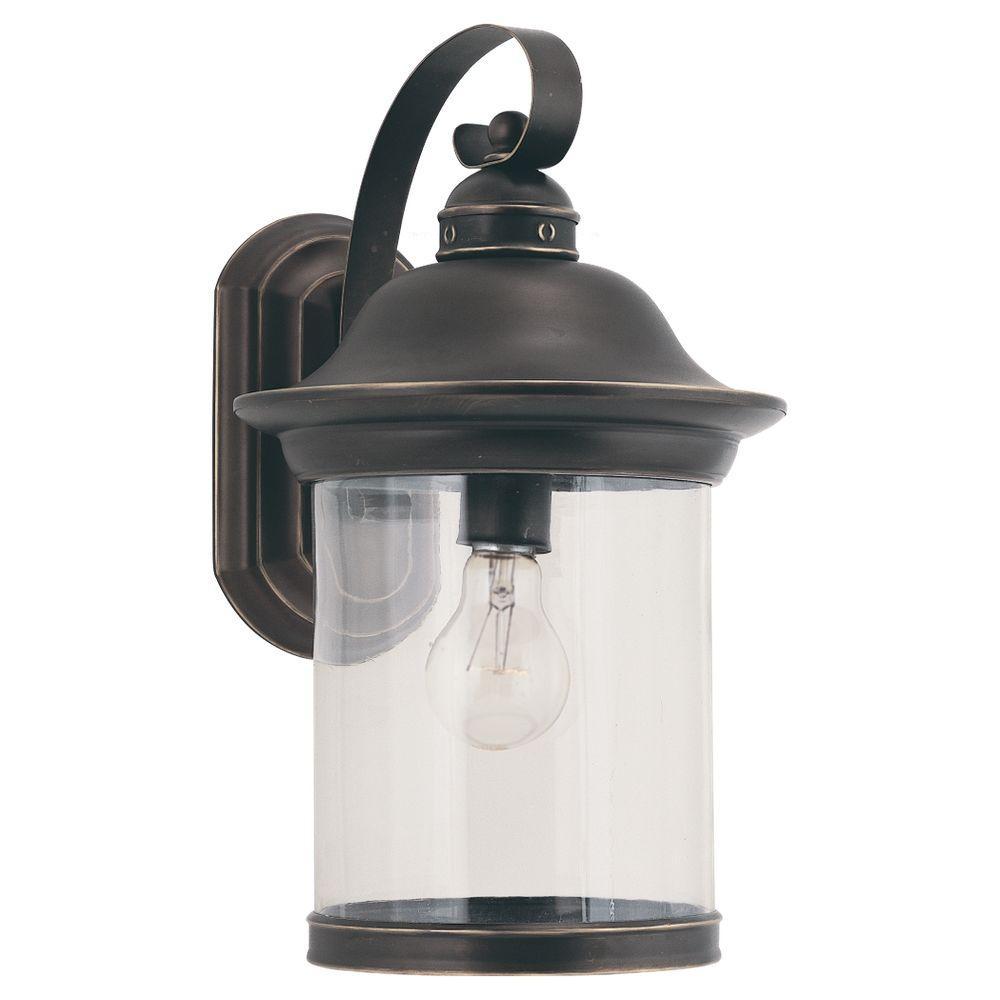 Sea Gull Lighting Hermitage 1-Light Antique Bronze Outdoor Wall Lantern Sconce