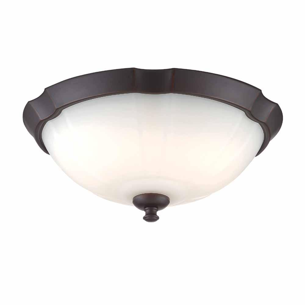 120-Watt Equivalent Royal Bronze Integrated LED Flushmount with Frosted White