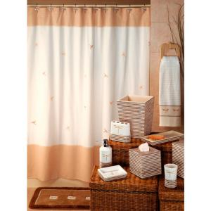 Creative Bath Dragonfly 70 In X 72 In Tan Natural And Brown 100 Cotton Shower Curtain Curtain Hooks And Bath Rug Set