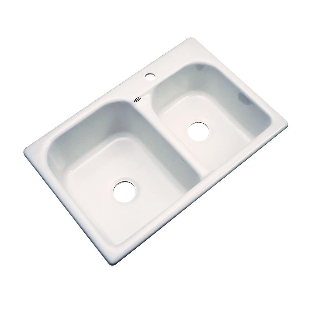 Cambridge Drop-In Acrylic 33 in. 1-Hole Double Bowl Kitchen Sink in