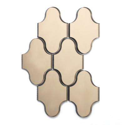 Reflections Gold Swag Waterjet Mosaic 4 in. x 5 in. Glass Mirror Mesh Mounted Wall Tile (0.52 Sq. ft.)