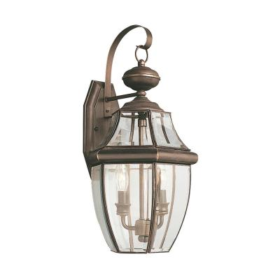 Lancaster 2-Light Antique Bronze Outdoor 20.5 in. Wall Lantern Sconce with Dimmable Candelabra LED Bulb