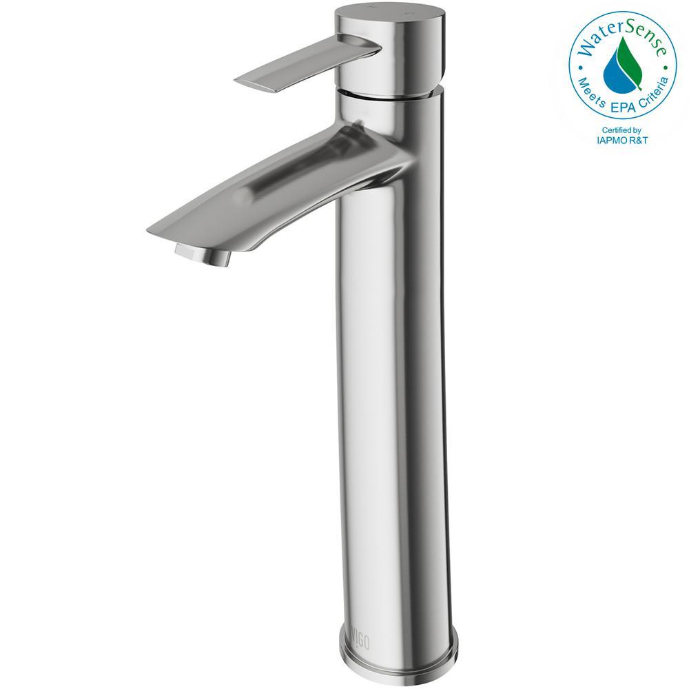 Single Hole Single-Handle Vessel Bathroom Faucet in Brushed Nickel