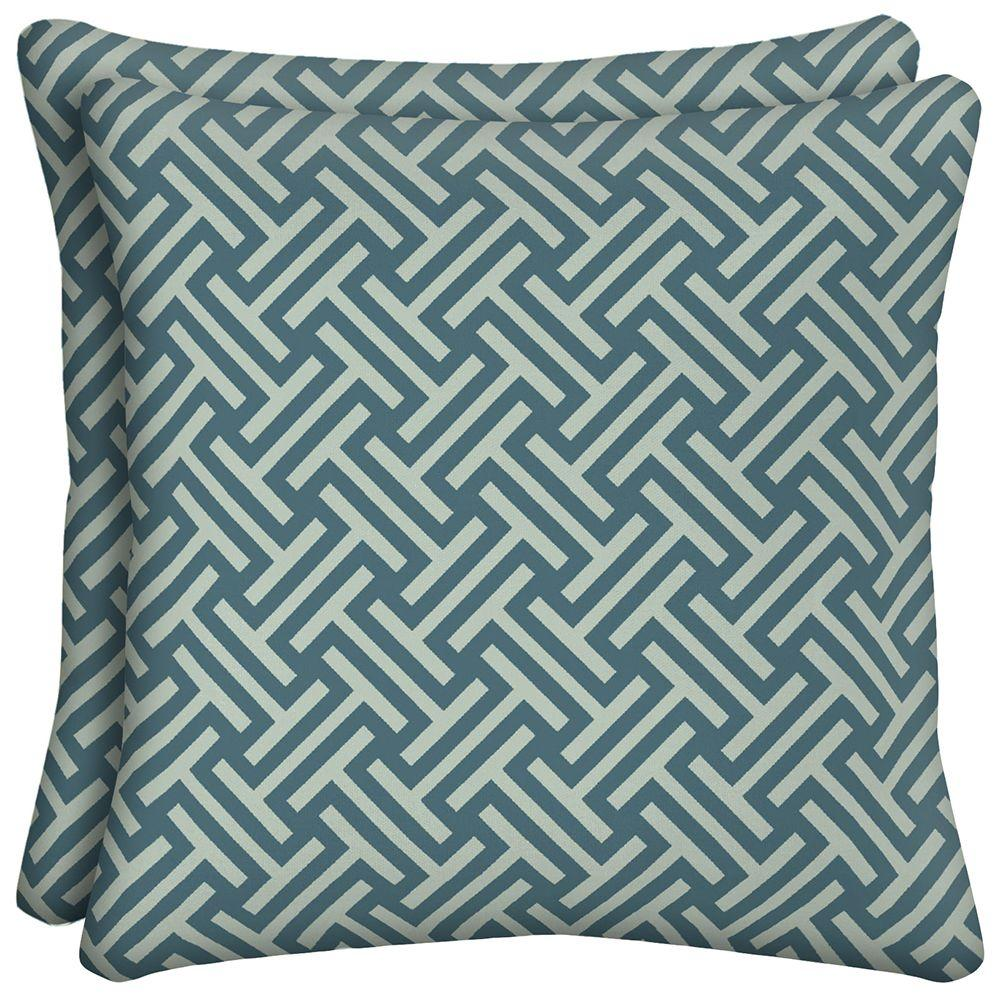 Hampton Bay Cumberland Geo Square Outdoor Throw Pillow (2-Pack)