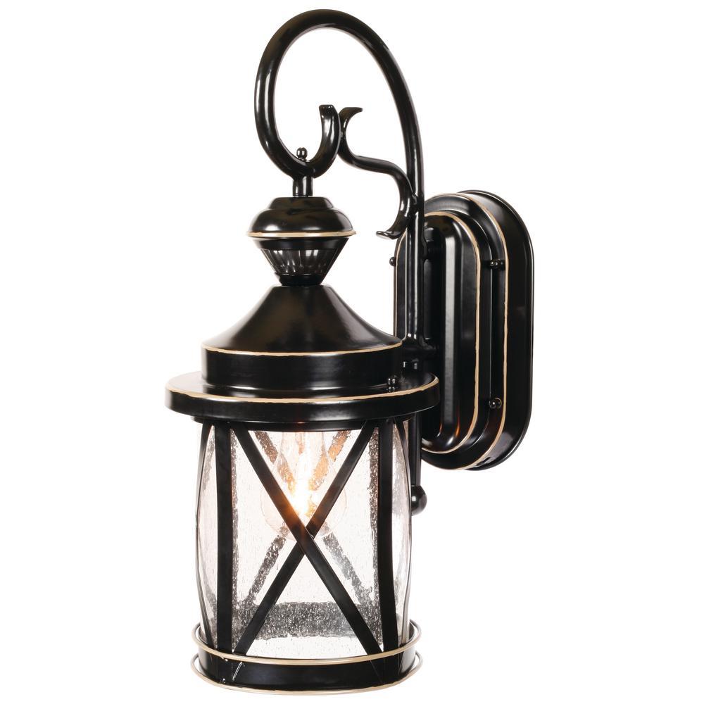 Heath Zenith 1-Light Satin Black Motion Activated Outdoor Wall Mount Lantern by Heath Zenith