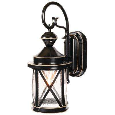 1-Light Satin Black Motion Activated Outdoor Wall Mount Lantern