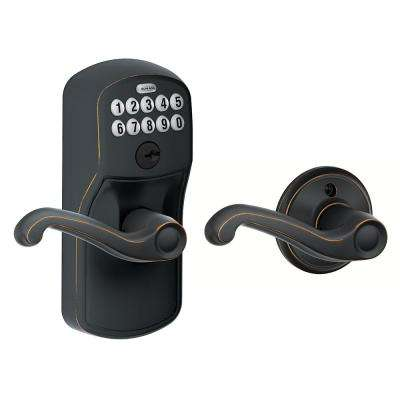 Plymouth Aged Bronze Electronic Door Lock with Flair Door Lever Featuring Flex Lock