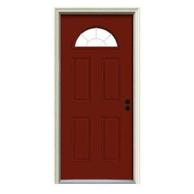 Fanlite Painted Premium Steel Prehung Front Door with Brickmould  sc 1 st  The Home Depot & Red - Front Doors - Exterior Doors - The Home Depot