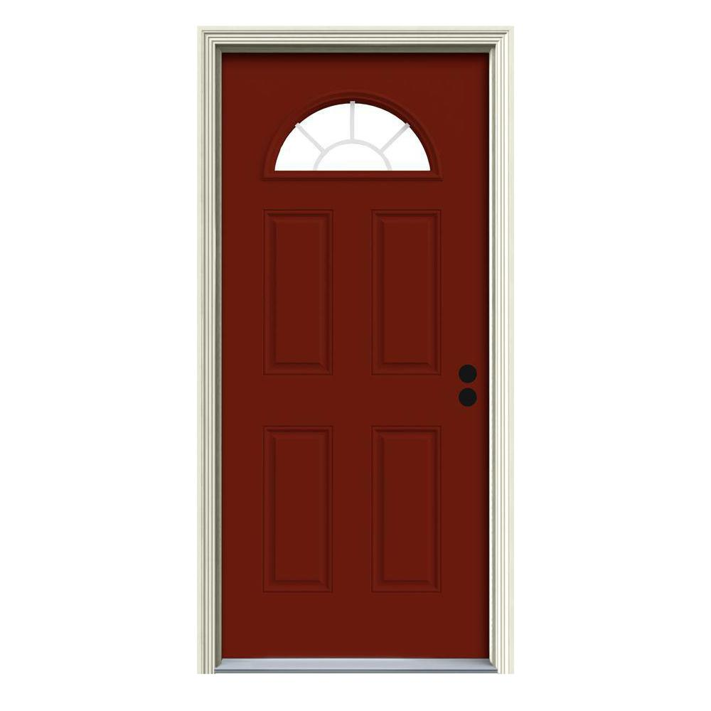 JELD-WEN 36 in. x 80 in. Fan Lite Mesa Red Painted Steel Prehung Left-Hand Inswing Front Door w/Brickmould