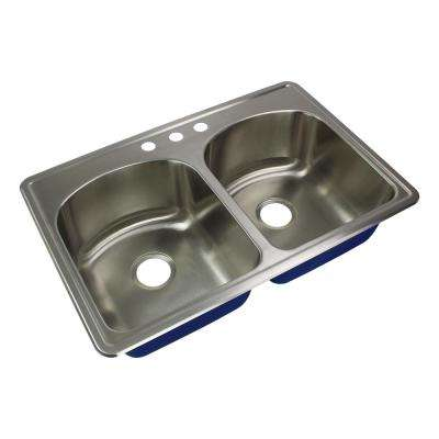 Meridian Drop-In Stainless Steel 33 in. 3-Hole 50/50 Double Bowl Kitchen Sink in Brushed Stainless Steel