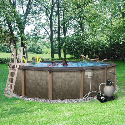 Riviera 27 ft. Round 54 in. Deep 8 in. Top Rail Metal Wall Swimming Pool Package