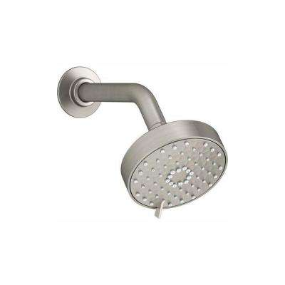 Awaken 3-Spray 4.3 in. Single Wall Mount Fixed Rain Shower Head in Brushed Nickel