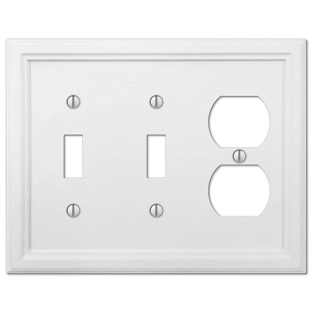 AMERELLE Elly 3 Gang 2-Toggle and 1-Duplex Composite Wall Plate - White