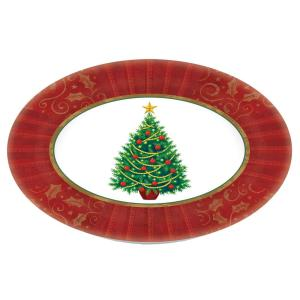 Click here to buy Amscan Twinkling Tree 18.25 inch x 14.5 inch Melamine Christmas Oval Platter (2-Pack) by Amscan.