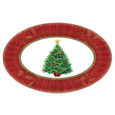 Twinkling Tree 18.25 in. x 14.5 in. Melamine Christmas Oval Platter (2-Pack)
