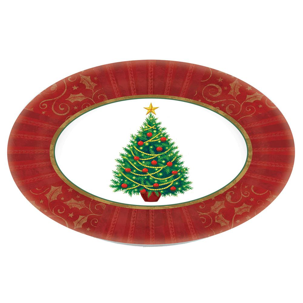 Christmas Platter Plates.Amscan Twinkling Tree 18 25 In X 14 5 In Melamine Christmas Oval Platter 2 Pack