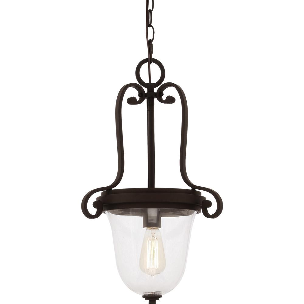 Volume Lighting Regina 1-Light Antique Bronze Indoor Hanging Pendant with Clear Glass Bowl