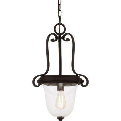Regina 1-Light Antique Bronze Indoor Hanging Pendant with Clear Glass Bowl