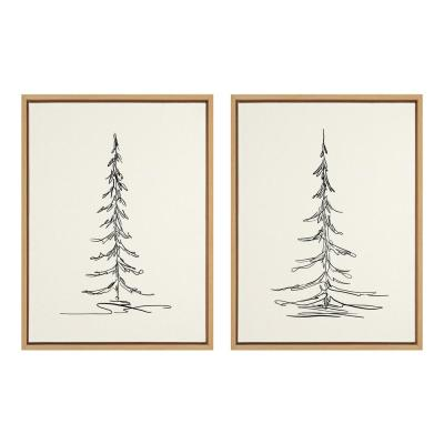 Sylvie Minimalist Evergreen Trees Sketch 1 & 2 24 in. x 18 in. by The Creative Bunch Studio Framed Canvas Wall Art
