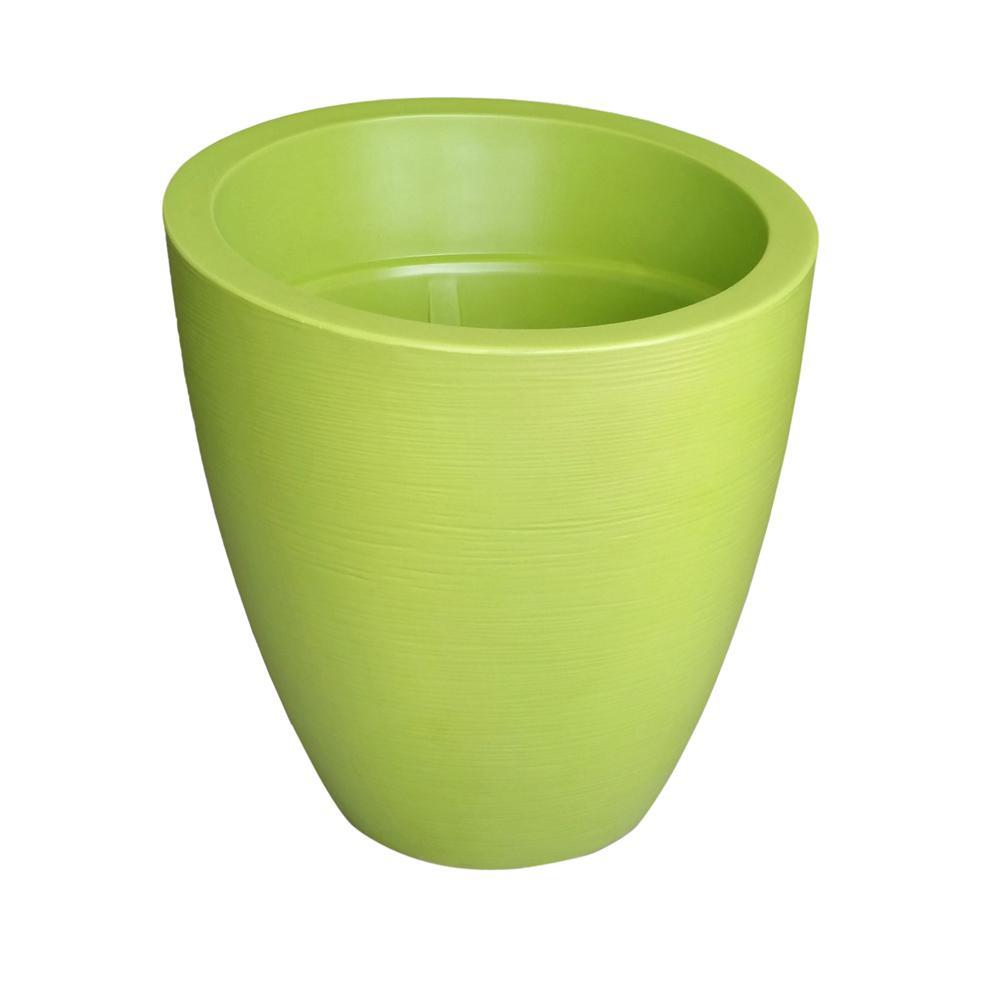 Modesto 30 in. Round Macaw Green Plastic Planter