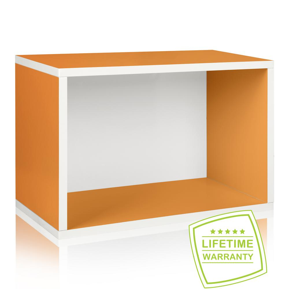 Way Basics Eco Stackable zBoard  11.2 x 22.8 x 15.5 Tool-Free Assembly Rectangle Cubby Shelf Unit in Orange