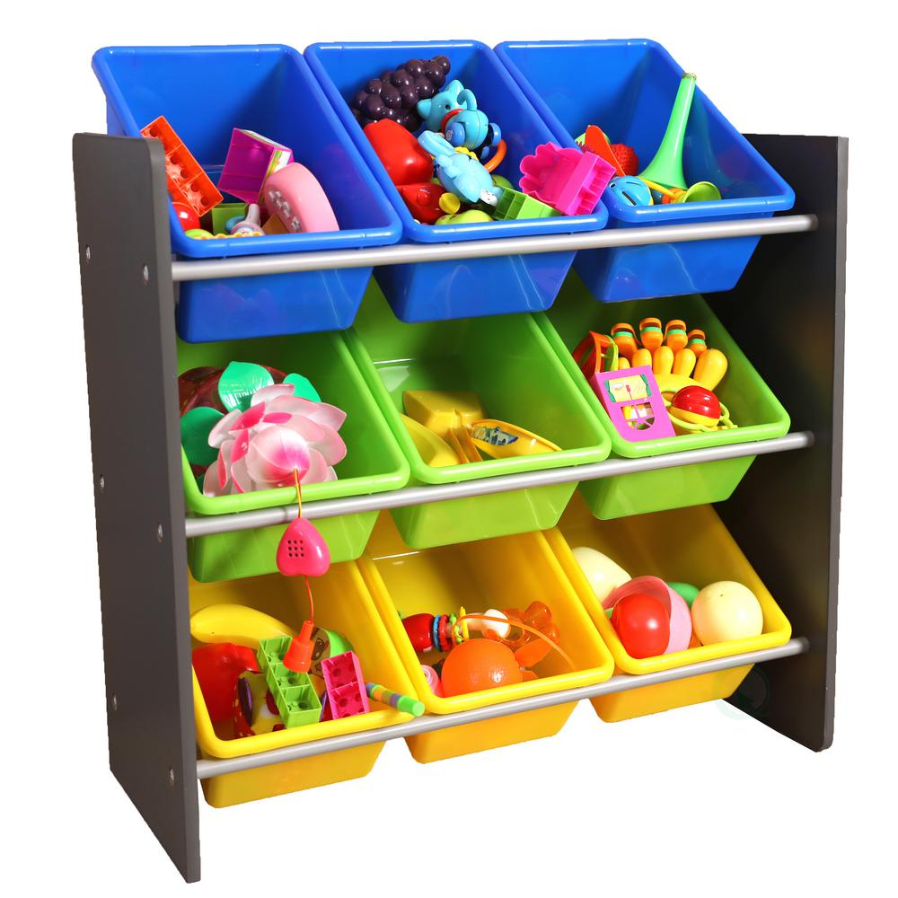basicwise 3 tier kid 39 s toy storage organizer with 9 plastic bins qi003276 the home depot. Black Bedroom Furniture Sets. Home Design Ideas