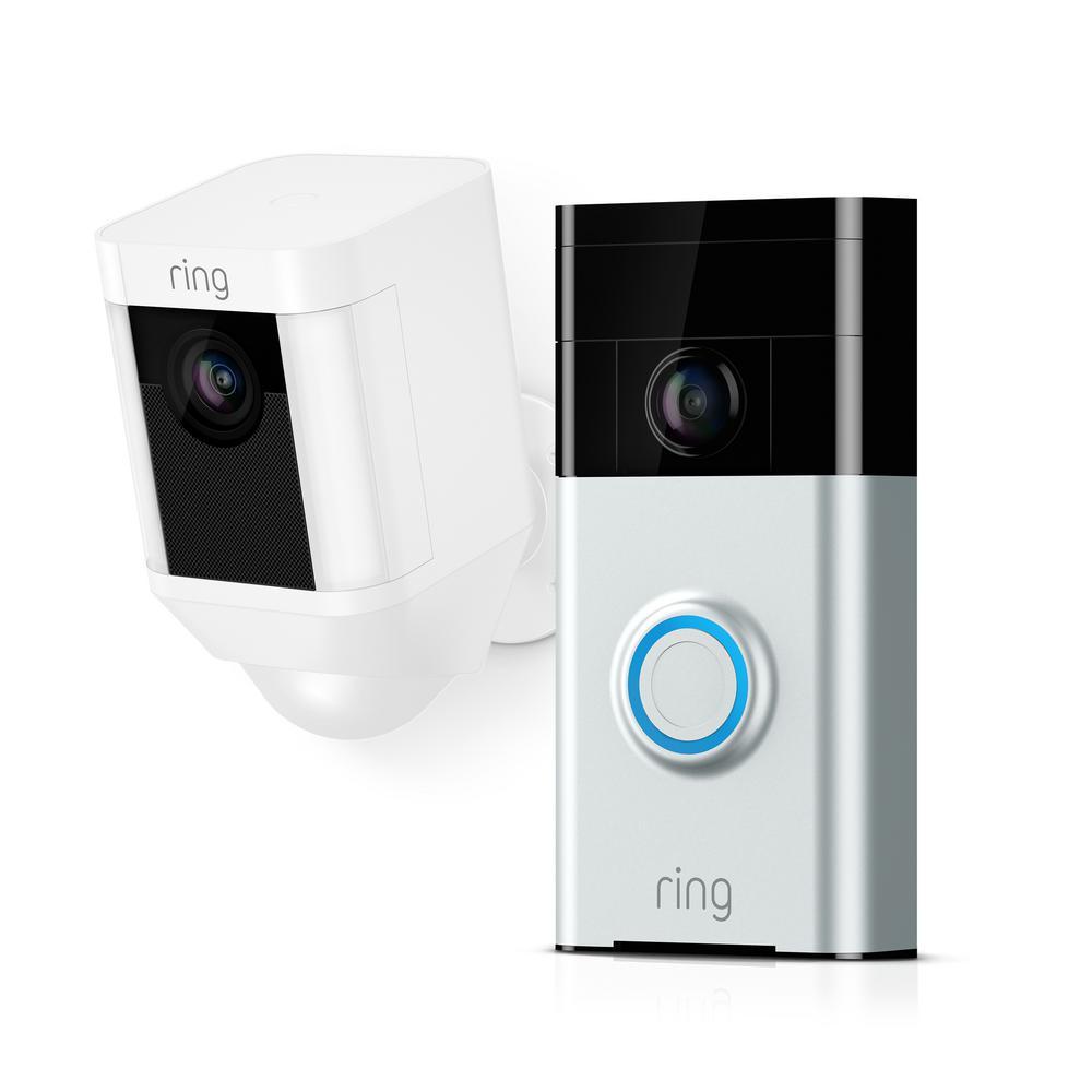 Wireless Video Doorbell with Spotlight Cam Battery White