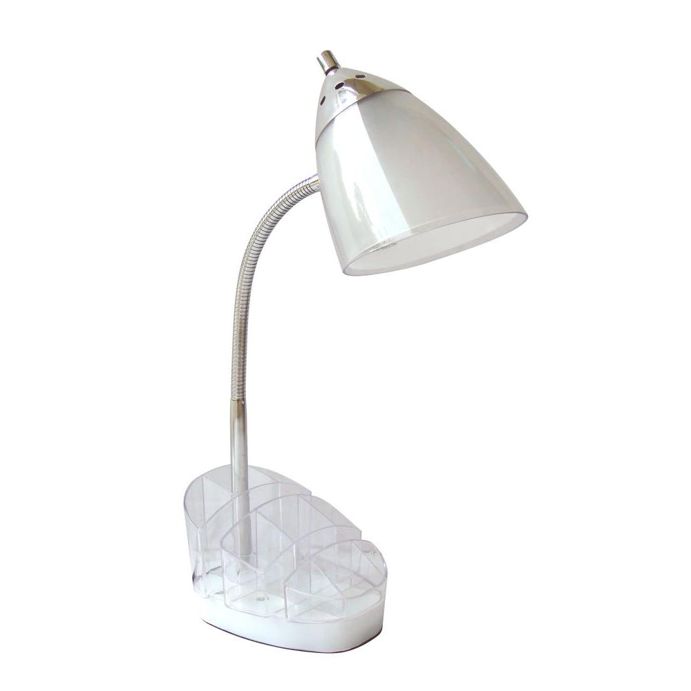 Adesso 16 In Clear White Desk Lamp Organizer With 13 Watt Cfl Bulb Af39270c The Home Depot