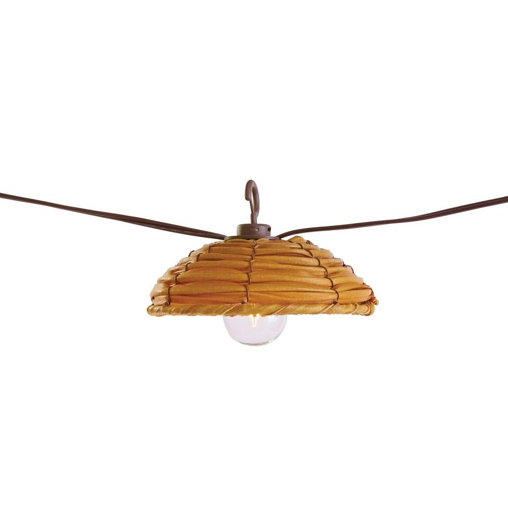 null G40 New Rattan 8-Light Brown Cafe Light (8-Count)