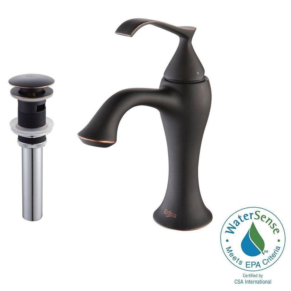 KRAUS Ventus Single Hole Single-Handle Mid-Arc Bathroom Faucet with Matching Pop-Up Drain and Overflow in Oil Rubbed Bronze
