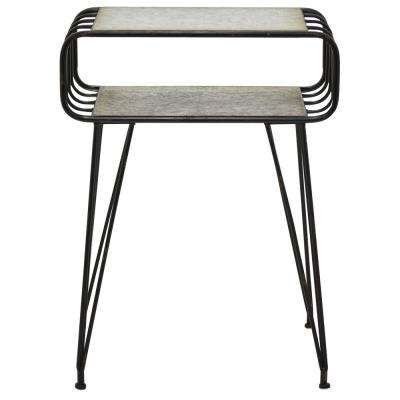 27 in. Gray Metal Side Table