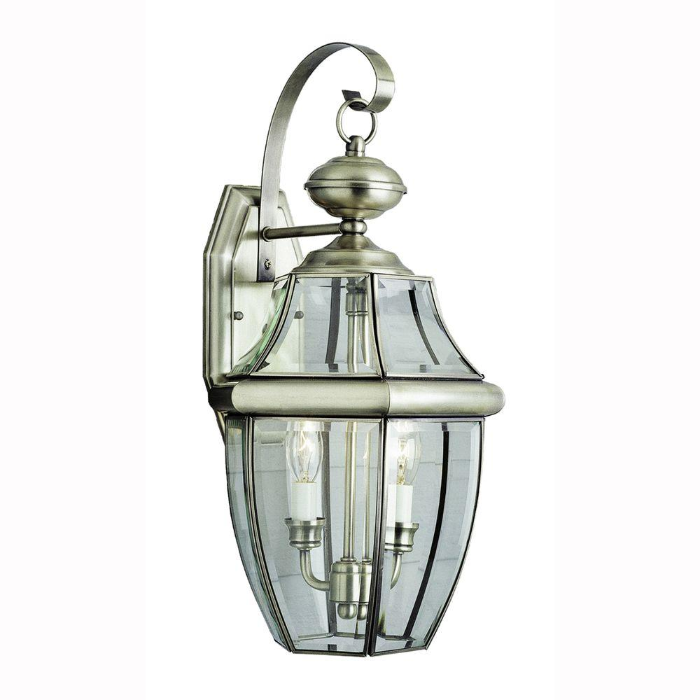 bel air lighting contemporary 2 light brushed nickel outdoor coach lantern with clear glass 4320. Black Bedroom Furniture Sets. Home Design Ideas