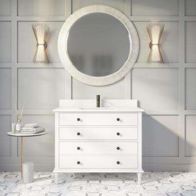 Flynn 42 in. W x 22 in. D Bath Vanity in White ENGRD Stone Vanity Top in White with White Basin Power Bar and Organizer