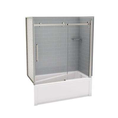 Utile Metro 30 in. x 59.8 in. x 81.4 in. Right Drain Alcove Bath and Shower Kit in Ash Grey, Brushed Nickel Shower Door