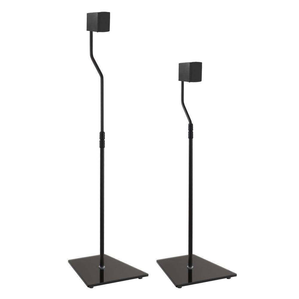 Black Glass Speaker Floor Stand (Set of 2)